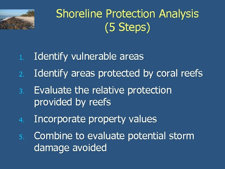Shoreline Protection Analysis (5 Steps) 1. Identify vulnerable areas 2. Identify areas protected by