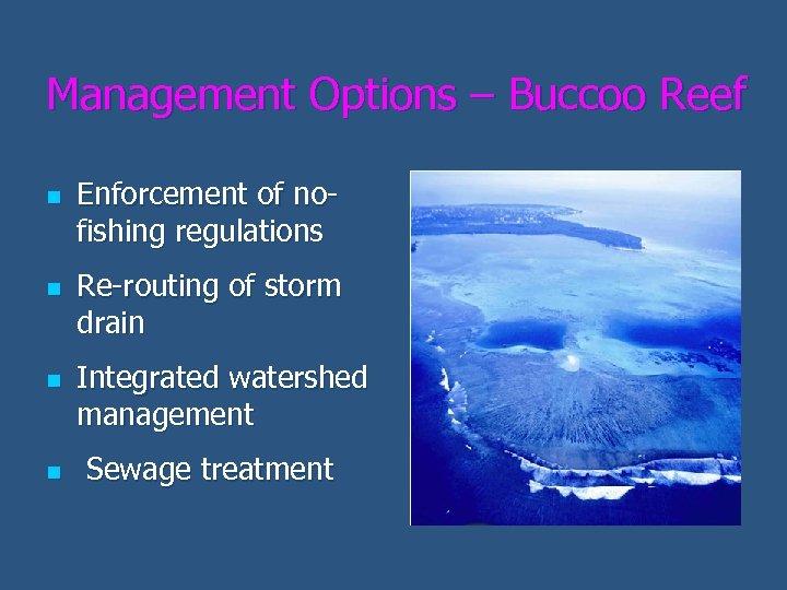 Management Options – Buccoo Reef n n Enforcement of nofishing regulations Re-routing of storm