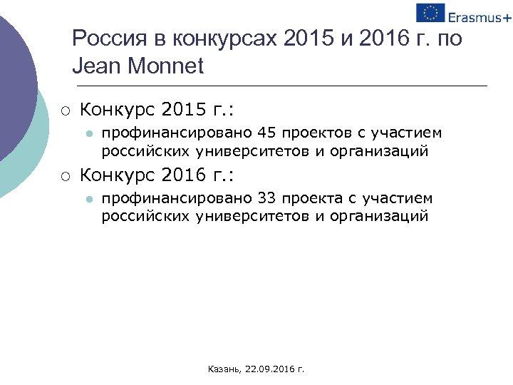 Россия в конкурсах 2015 и 2016 г. по Jean Monnet ¡ Конкурс 2015 г.