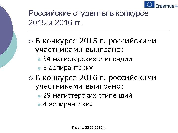 Российские студенты в конкурсе 2015 и 2016 гг. ¡ В конкурсе 2015 г. российскими