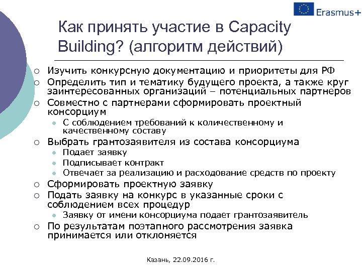 Как принять участие в Capacity Building? (алгоритм действий) ¡ ¡ ¡ Изучить конкурсную документацию