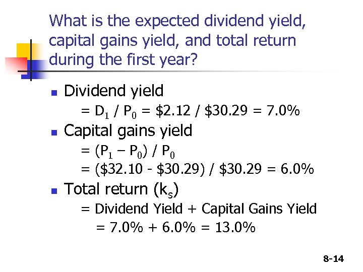 What is the expected dividend yield, capital gains yield, and total return during the