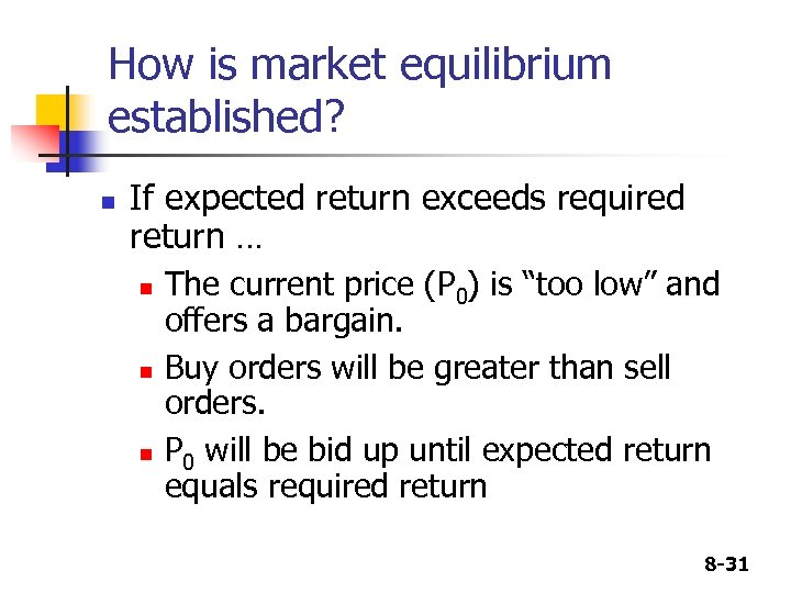 How is market equilibrium established? n If expected return exceeds required return … n