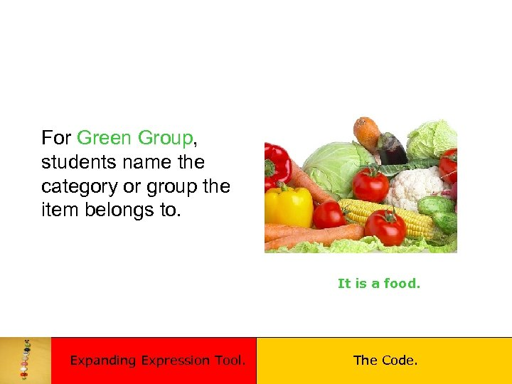 For Green Group, students name the category or group the item belongs to. It