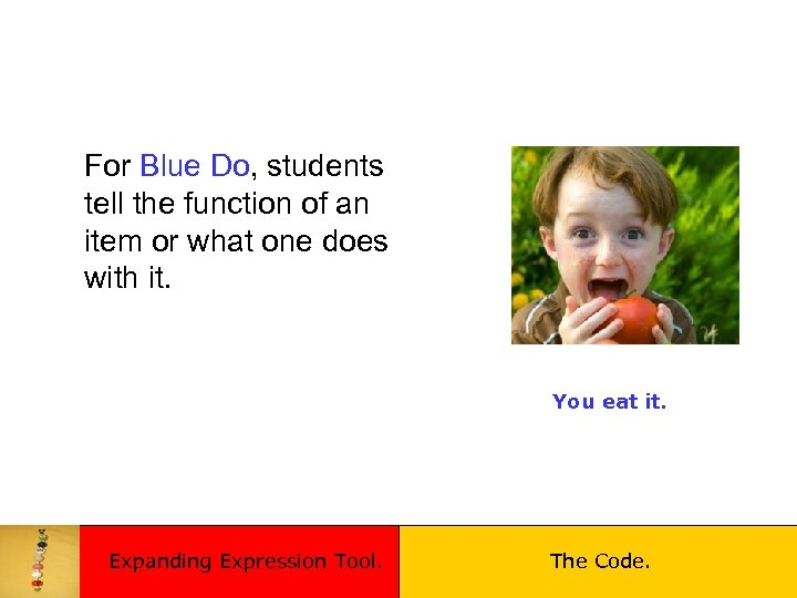 For Blue Do, students tell the function of an item or what one does