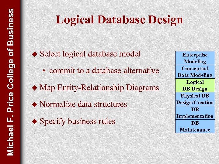 Michael F. Price College of Business Logical Database Design u Select logical database model