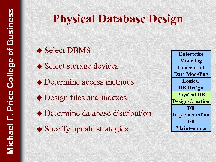 Michael F. Price College of Business Physical Database Design u Select DBMS u Select