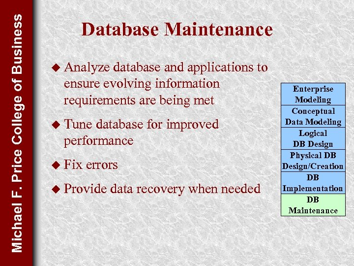 Michael F. Price College of Business Database Maintenance u Analyze database and applications to