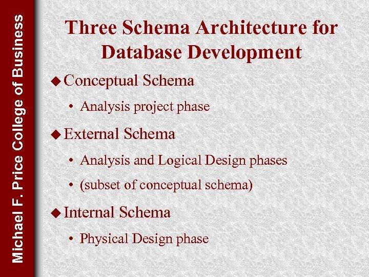 Michael F. Price College of Business Three Schema Architecture for Database Development u Conceptual