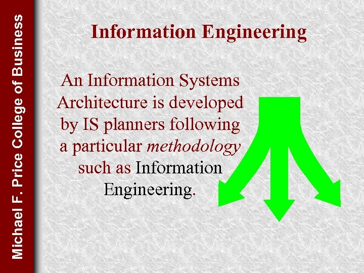 Michael F. Price College of Business Information Engineering An Information Systems Architecture is developed