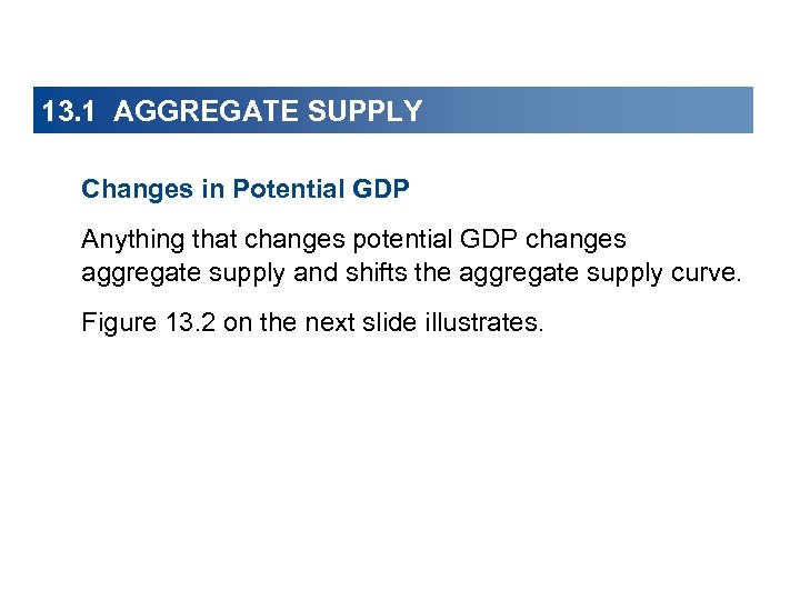 13. 1 AGGREGATE SUPPLY Changes in Potential GDP Anything that changes potential GDP changes