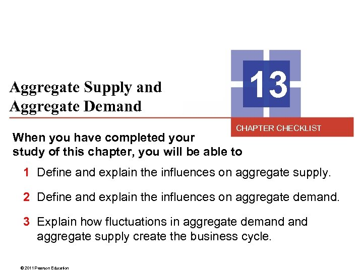 13 Aggregate Supply and Aggregate Demand CHAPTER CHECKLIST When you have completed your study