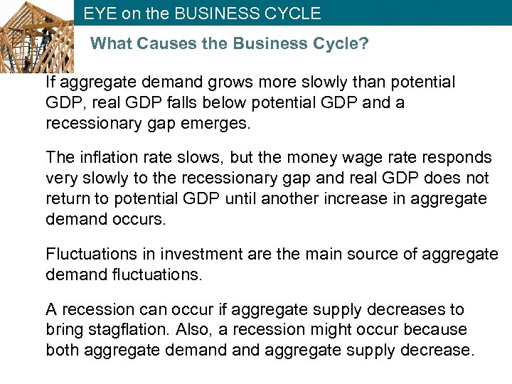 EYE on the BUSINESS CYCLE What Causes the Business Cycle? If aggregate demand grows