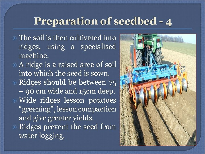 Preparation of seedbed - 4 The soil is then cultivated into ridges, using a