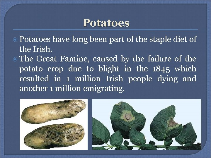 Potatoes have long been part of the staple diet of the Irish. The Great