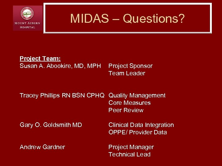 MIDAS – Questions? Project Team: Susan A. Abookire, MD, MPH Project Sponsor Team Leader
