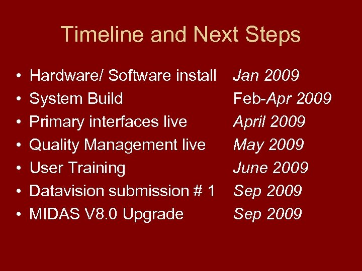 Timeline and Next Steps • • Hardware/ Software install System Build Primary interfaces live