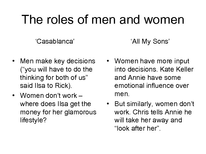 The roles of men and women 'Casablanca' 'All My Sons' • Men make key