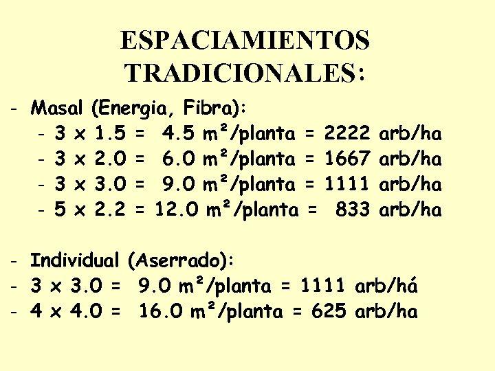 ESPACIAMIENTOS TRADICIONALES: - Masal (Energia, Fibra): - 3 x 1. 5 = 4. 5