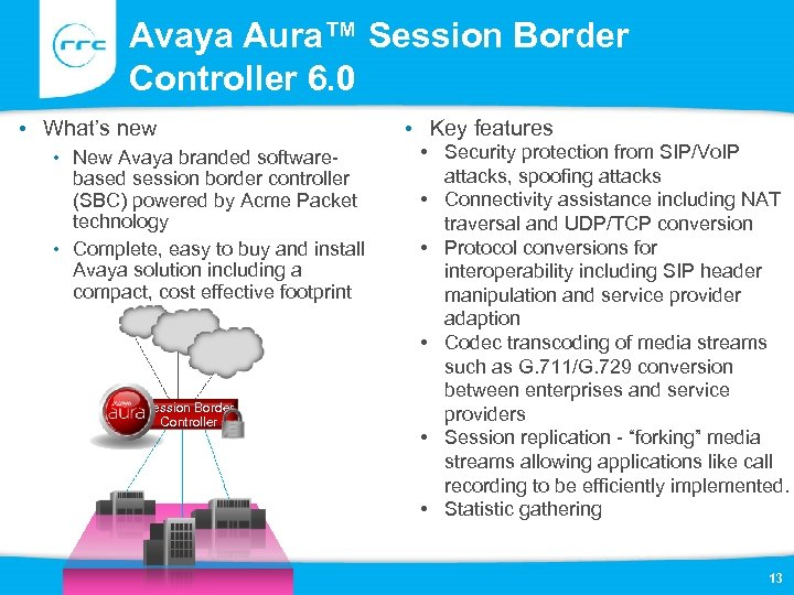 Avaya Aura™ Session Border Controller 6. 0 • What's new • New Avaya branded