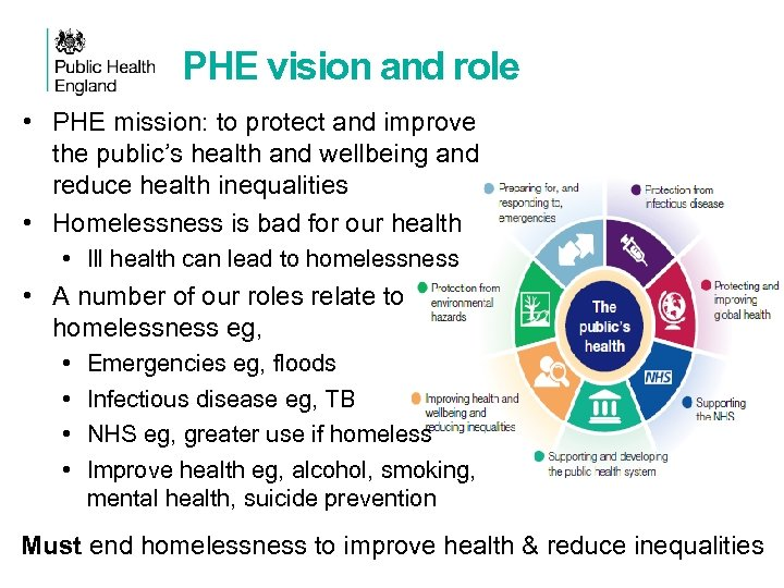 PHE vision and role • PHE mission: to protect and improve the public's health