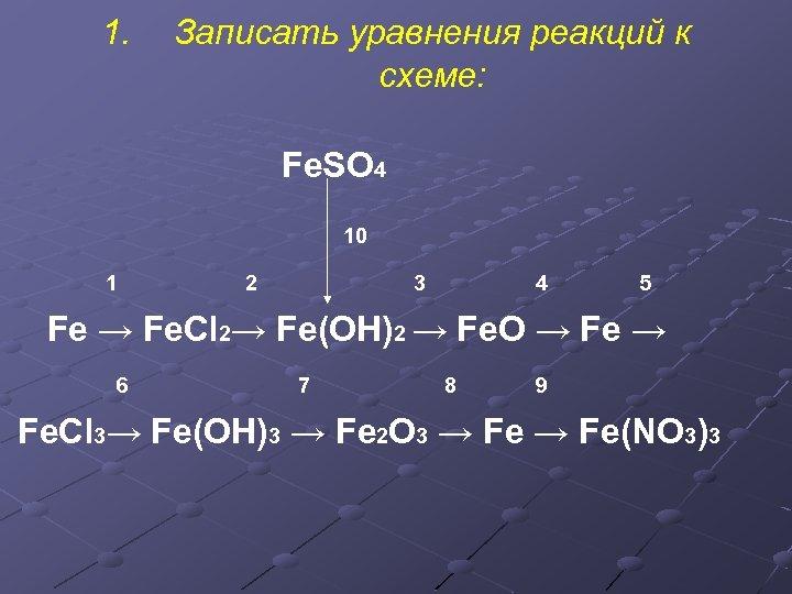 1. Записать уравнения реакций к схеме: Fe. SO 4 10 2 3 4 5