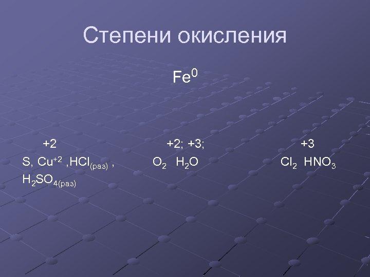 Степени окисления Fe 0 +2 +2; +3; +3 S, Cu+2 , HCl(раз) , O