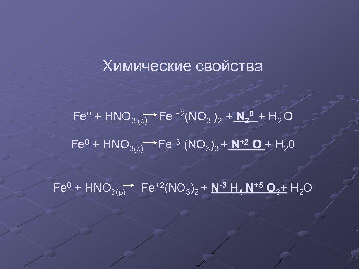 Химические свойства Fe 0 + HNO 3 (p) Fe +2(NO 3 )2 + N