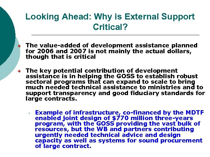 Looking Ahead: Why is External Support Critical? The value-added of development assistance planned for