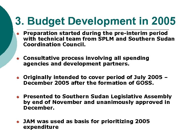 3. Budget Development in 2005 Preparation started during the pre-interim period with technical team