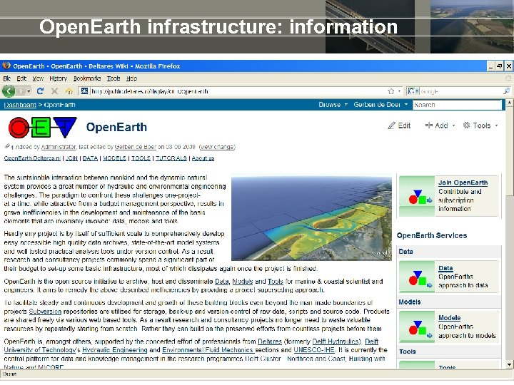 Open. Earth infrastructure: information