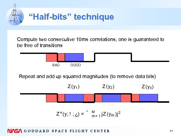 """Half-bits"" technique Compute two consecutive 10 ms correlations, one is guaranteed to be free"