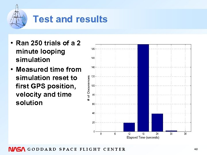 Test and results • Ran 250 trials of a 2 minute looping simulation •