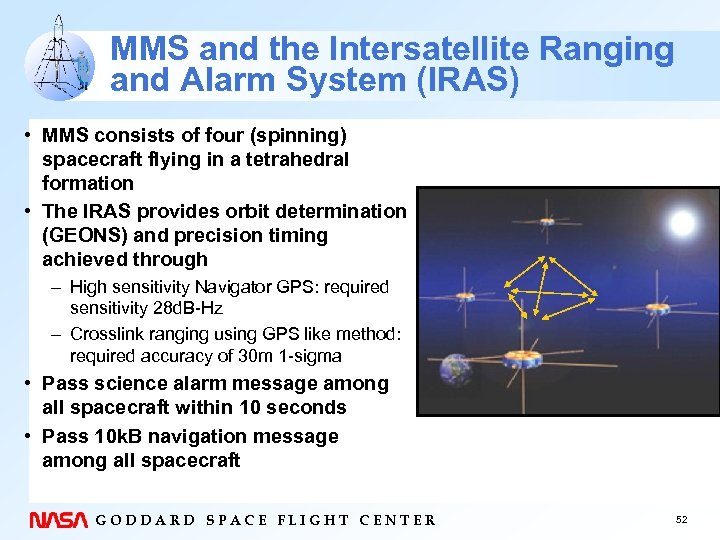 MMS and the Intersatellite Ranging and Alarm System (IRAS) • MMS consists of four