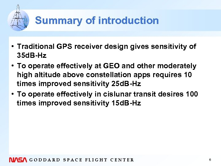 Summary of introduction • Traditional GPS receiver design gives sensitivity of 35 d. B-Hz