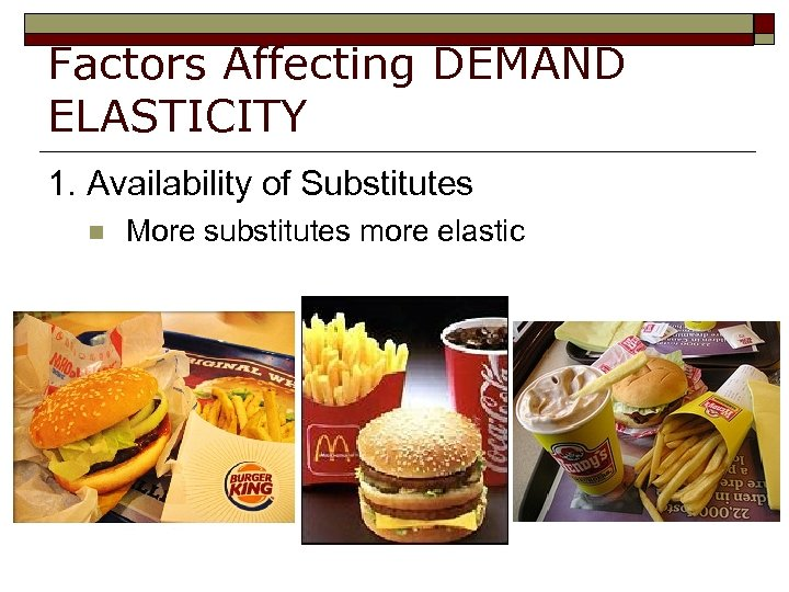 Factors Affecting DEMAND ELASTICITY 1. Availability of Substitutes n More substitutes more elastic