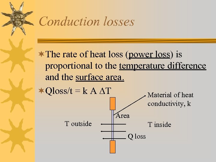 Conduction losses ¬The rate of heat loss (power loss) is proportional to the temperature