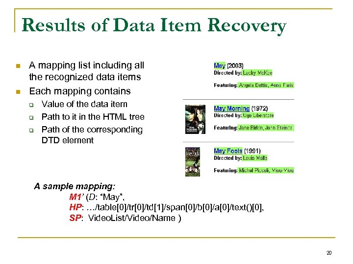 Results of Data Item Recovery n n A mapping list including all the recognized