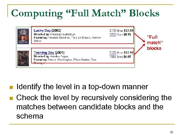 "Computing ""Full Match"" Blocks ""Full match"" blocks n n Identify the level in a"