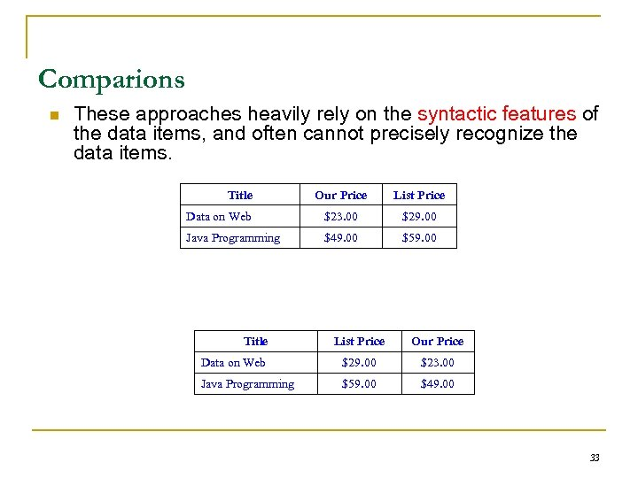 Comparions n These approaches heavily rely on the syntactic features of the data items,