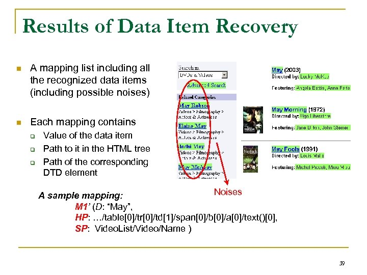 Results of Data Item Recovery n A mapping list including all the recognized data