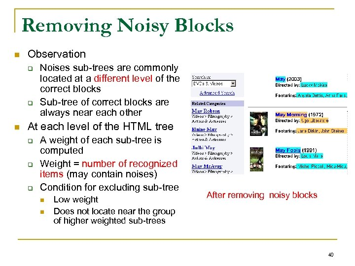 Removing Noisy Blocks n Observation q q n Noises sub-trees are commonly located at