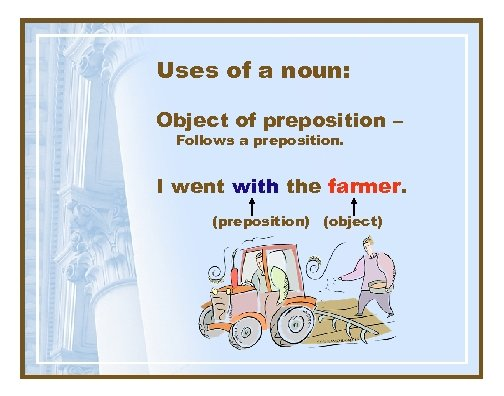 Uses of a noun: Object of preposition – Follows a preposition. I went with