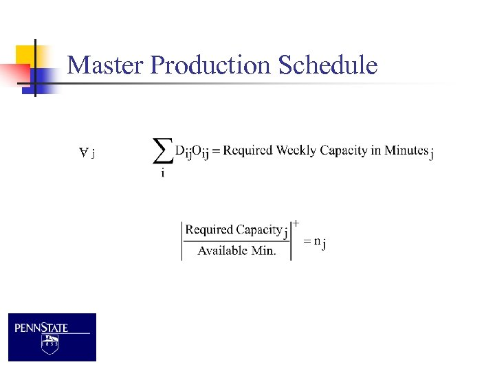 Master Production Schedule j A