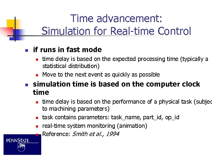 Time advancement: Simulation for Real-time Control n if runs in fast mode n n