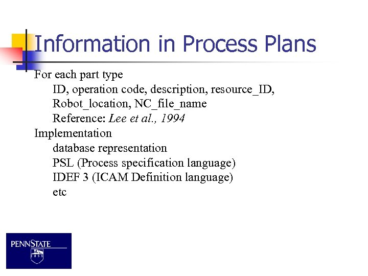 Information in Process Plans For each part type ID, operation code, description, resource_ID, Robot_location,