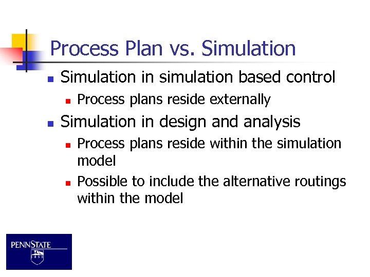Process Plan vs. Simulation n Simulation in simulation based control n n Process plans