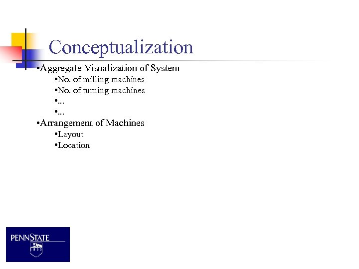 Conceptualization • Aggregate Visualization of System • No. of milling machines • No. of