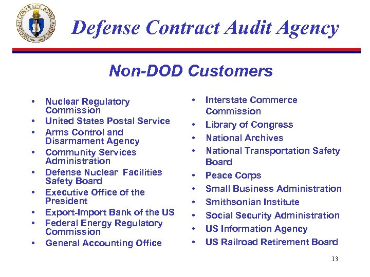 Defense Contract Audit Agency Non-DOD Customers • • • Nuclear Regulatory Commission United States