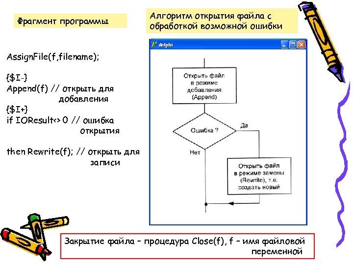 Фрагмент программы Алгоритм открытия файла с обработкой возможной ошибки Assign. File(f, filename); {$I-} Append(f)